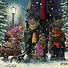 victorian dinosaur Carol Singers by martyee