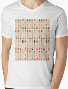 Vintage Arrow Pattern with Beige Background Mens V-Neck T-Shirt