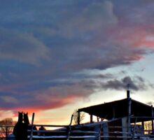 A magic night descends on the farm - Christmas Eve Sticker