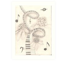 piano keys and rhododendron Art Print