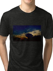 Pink Angel Soaring in this Amazing Sunset Tri-blend T-Shirt