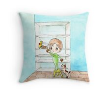 Sneaky - little boy's midnight snack Throw Pillow