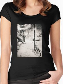 Snow - New York City - Night Women's Fitted Scoop T-Shirt
