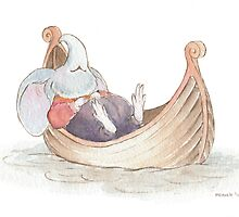 Elephant Mouse Asleep in Boat by mevagh