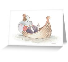 Elephant Mouse Asleep in Boat Greeting Card