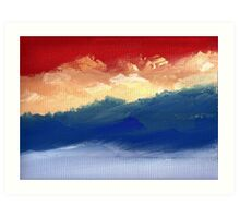 Foggy Scape under Red Sky Art Print
