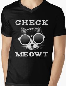 Check Meowt Cat with Shades Mens V-Neck T-Shirt