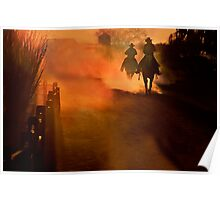 Two Riders at Sunset Poster