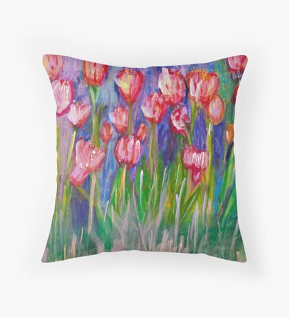Tulip's Red & White Throw Pillow