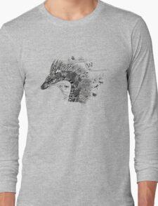 Haku The River Spirit Black and White Doodle Art Long Sleeve T-Shirt