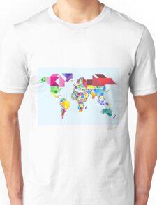 Tangram Abstract World Map Unisex T-Shirt