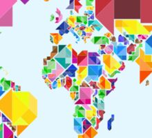 Tangram Abstract World Map Sticker
