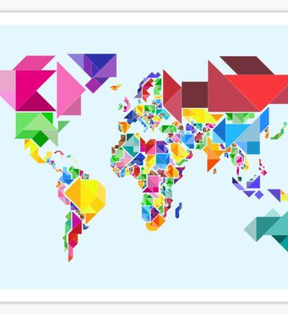 Tangram Abstract World Map Sticker