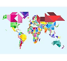 Tangram Abstract World Map Photographic Print