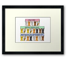 Cats celebrating Birthdays on September 24th Framed Print
