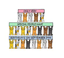 Cats celebrating Birthdays on September 24th Photographic Print