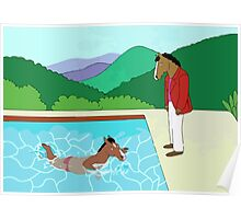 Portrait of a Horseman (Pool with two horses) Poster