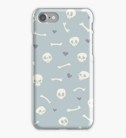 Cartoon Skulls with Hearts on Light Blue Background Seamless Pattern  iPhone Case/Skin