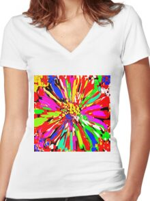 Dahlia Psychedelic Red Abstract Women's Fitted V-Neck T-Shirt