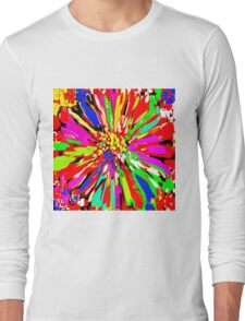 Dahlia Psychedelic Red Abstract Long Sleeve T-Shirt