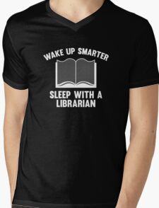 Wake Up Smarter Sleep With A Librarian Mens V-Neck T-Shirt