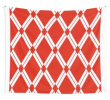 Red Argyle Diamonds Wall Tapestry