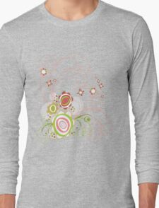 Sweet Groovy Pink Wild Blooms Long Sleeve T-Shirt