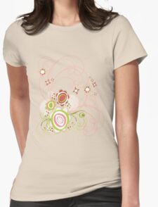 Sweet Groovy Pink Wild Blooms Womens Fitted T-Shirt
