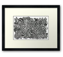 Wise Old Bird Black and White Doodle Art Framed Print