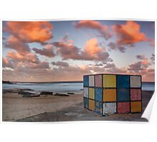 Rubiks on the beach Poster