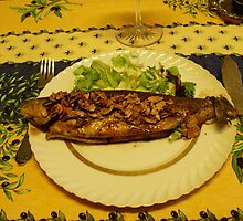 Rainbow Trouts with grilled almonds. by Gilberte