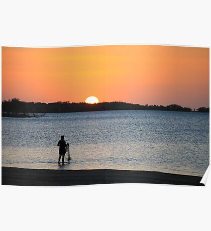 Net fishing at Sunset Poster