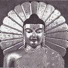 Gilded Buddha, Mahabodhi Temple, Bodhgaya, Bihar, India, Ink Drawing by RIYAZ POCKETWALA