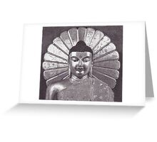 Gilded Buddha, Mahabodhi Temple, Bodhgaya, Bihar, India, Ink Drawing Greeting Card