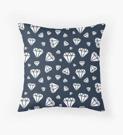 Navy Faceted Diamonds Pattern Throw Pillow