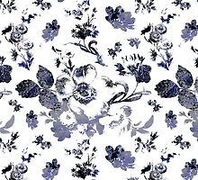 Inked Toile Wild Rose in Blue by Circe Lucas