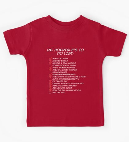 Dr. Horrible's To Do List  Kids Tee