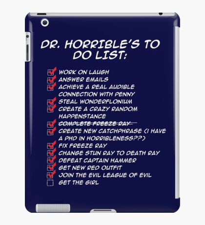 Dr. Horrible's To Do List  iPad Case/Skin