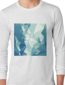 Turquoise Green Abstract Low Polygon Background Long Sleeve T-Shirt
