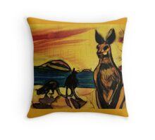 Kangas on beach Throw Pillow
