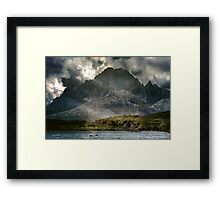 Singing before the mountains. Framed Print