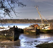 Rotting Hulks on the Orwell at Pin Mill, Suffolk by Christopher Cullen
