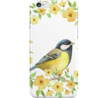 Cute small bird and yellow flowers iPhone Case/Skin