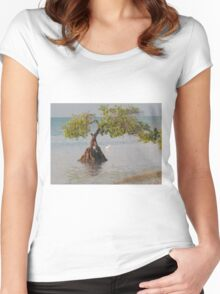 Oil Painting Seaside Tree Women's Fitted Scoop T-Shirt