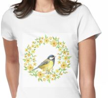 Cute small bird and yellow flowers Womens Fitted T-Shirt