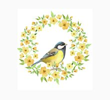Cute small bird and yellow flowers Womens T-Shirt