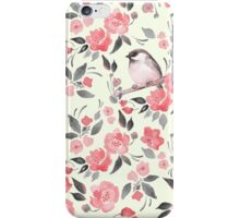 Watercolor floral background with a cute bird 2 iPhone Case/Skin