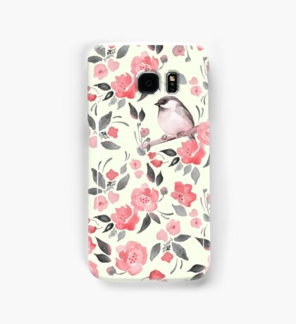 Watercolor floral background with a cute bird 2 Samsung Galaxy Case/Skin