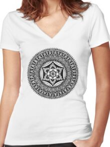 """""""The Heart"""" Sacred Geometry Mandala Women's Fitted V-Neck T-Shirt"""
