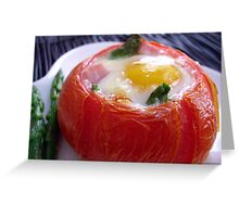 Baked Eggs, Ham & Asparagus in Tomato Cups Greeting Card